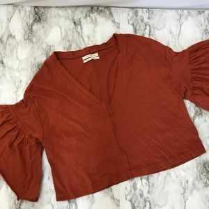 Urban Outfitters Orange Bell Sleeve Crop Top XS